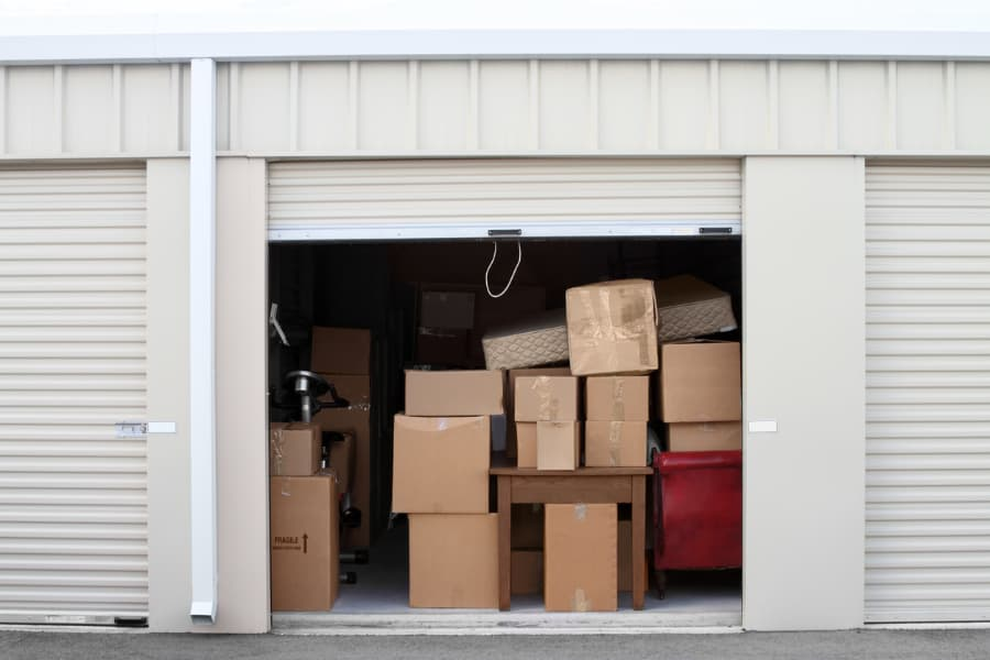 Boxes Stacked Inside Self-Storage Unit